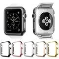 Luxo metal banhado hard pc case capa protetora para apple watch iwatch 38mm 42mm shell pele à prova de choque capa quadro shell