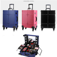 Trolley Makeup Box with Lights Professional Beauty Case Station without legs 6 led Bulbs three colors