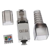 CAT6A RJ45 сетевой разъем Модульные вилки экранированные Разъемы Ethernet многожильный провод AWG 27/7 до 22/7