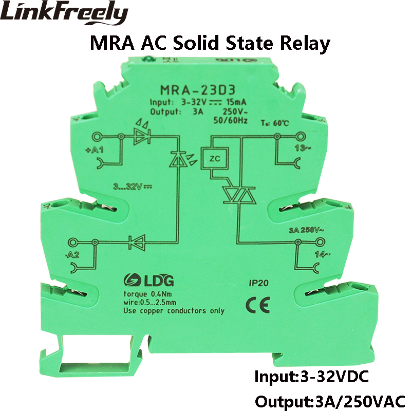 MRA-23D3 10pcs <font><b>3A</b></font> Mini SSR Solid State Relay <font><b>DC</b></font> AC Input 3V <font><b>5V</b></font> <font><b>12V</b></font> 24VDC Interface Voltage Switching Relay Module Board DIN Rail image