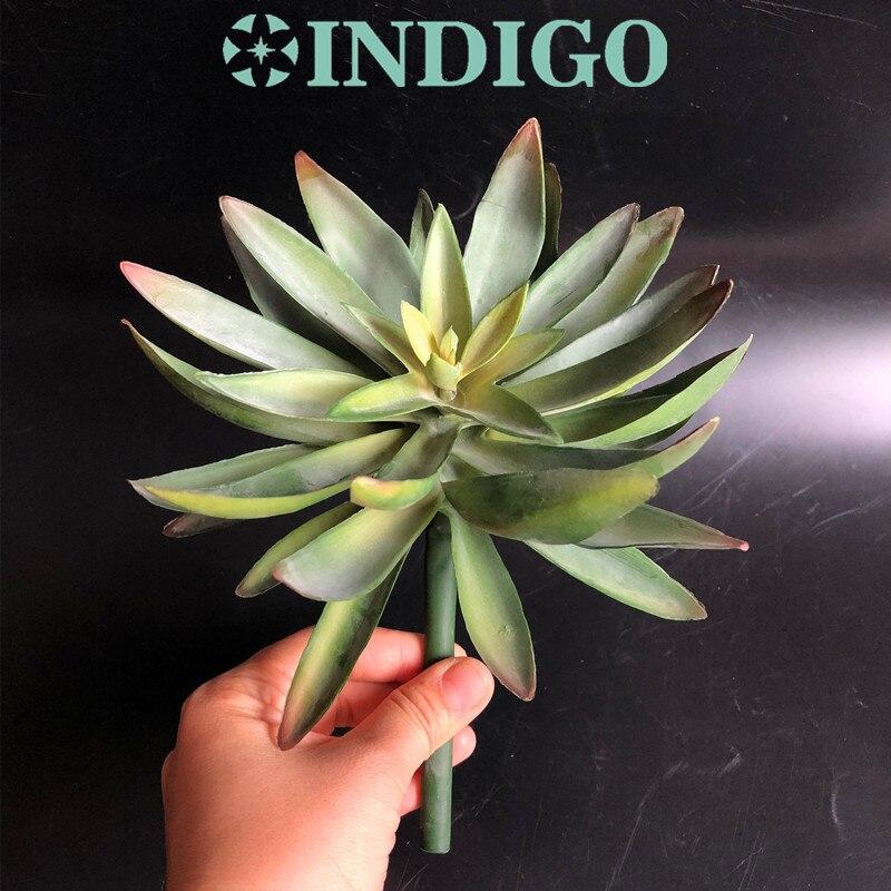 Индиго-зеленый большой Размеры Desert снежного лотоса искусственного суккулент Пластик цветок украшение для стен Зеленый завод фон