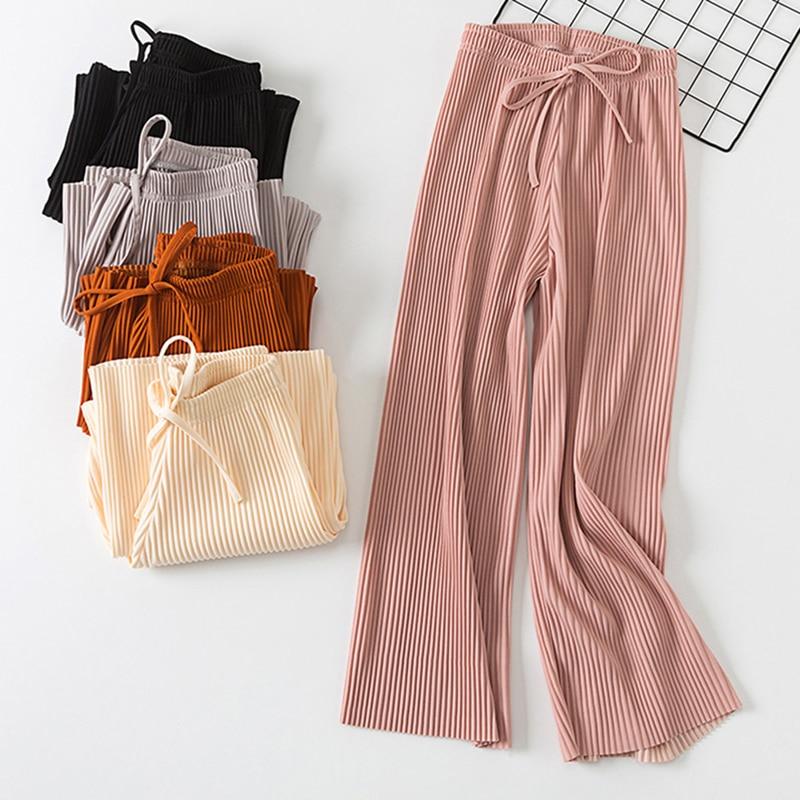 Bigsweety Fashion Harajuku Ankle-Length   Pants   Women   Wide     Leg     Pants   2018 Korean Style Female Summer High Waist Drawstring   Pants