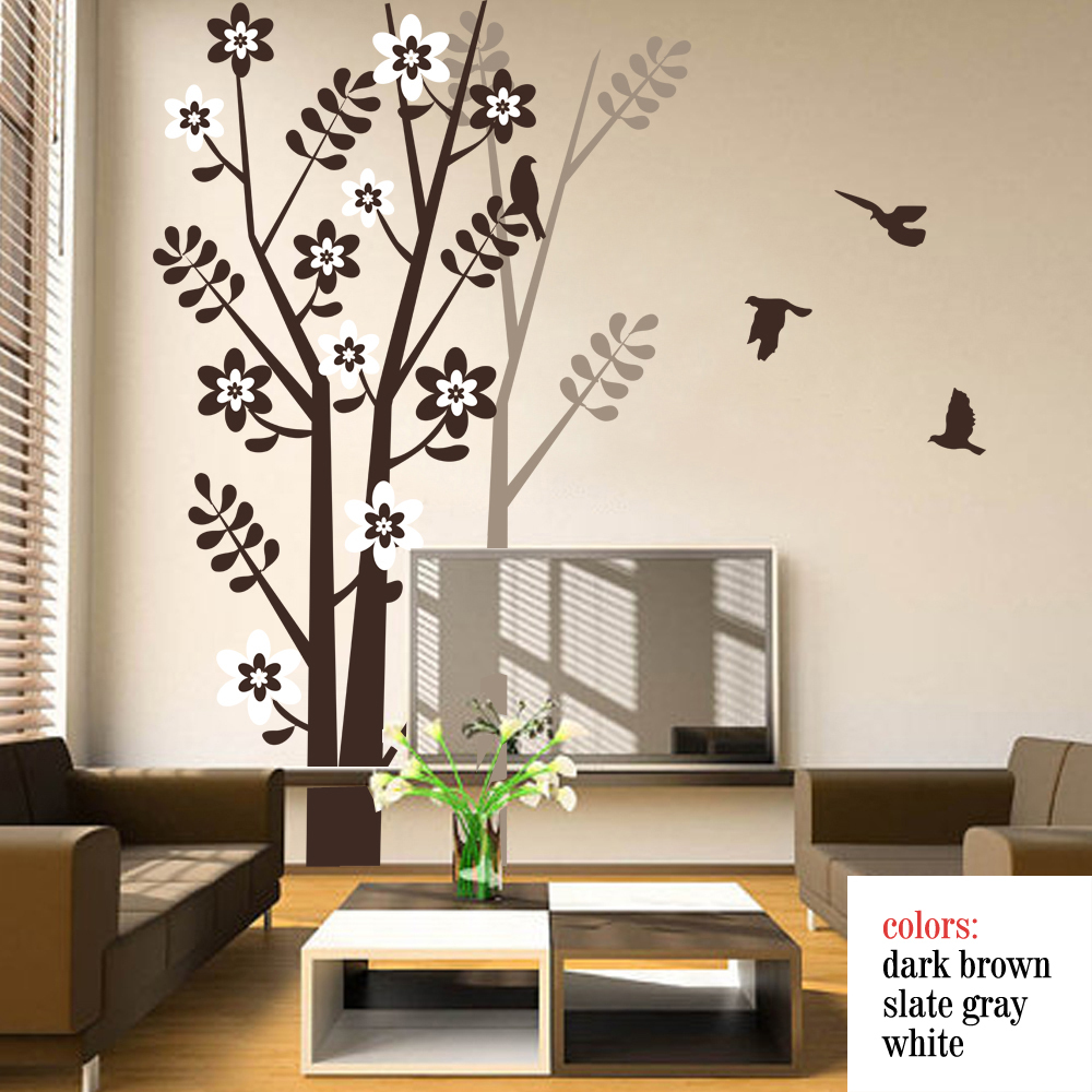 Tree Wall Decal With Birds Tree Shadow For Living Room Bedroom Vinyl Wall  Decals Wall Art