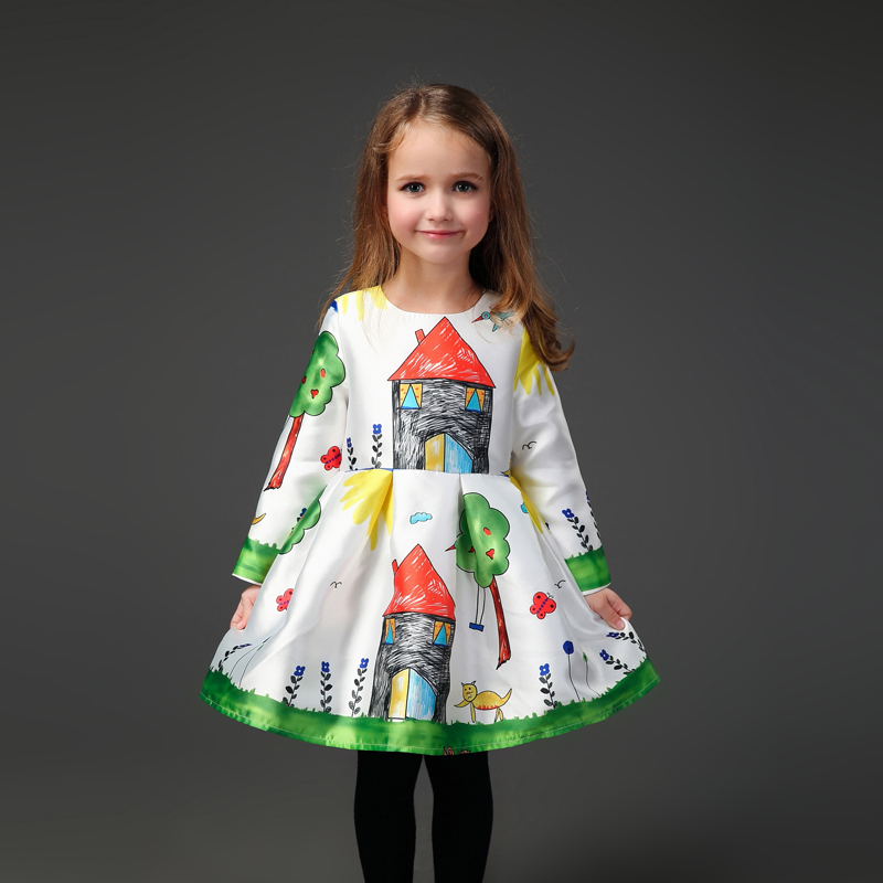 Family look clothing graffiti prints large size European one-piece women kids girls long pleated skirts mother daughter dresses