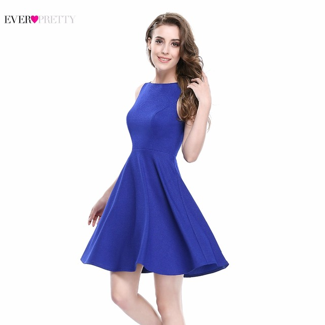 e1ece9b34e2 Simple Fashion Sleeveless Short Sapphire Blue Prom Dresses for Summer Ever  Pretty AS05462 New Arrival 2017