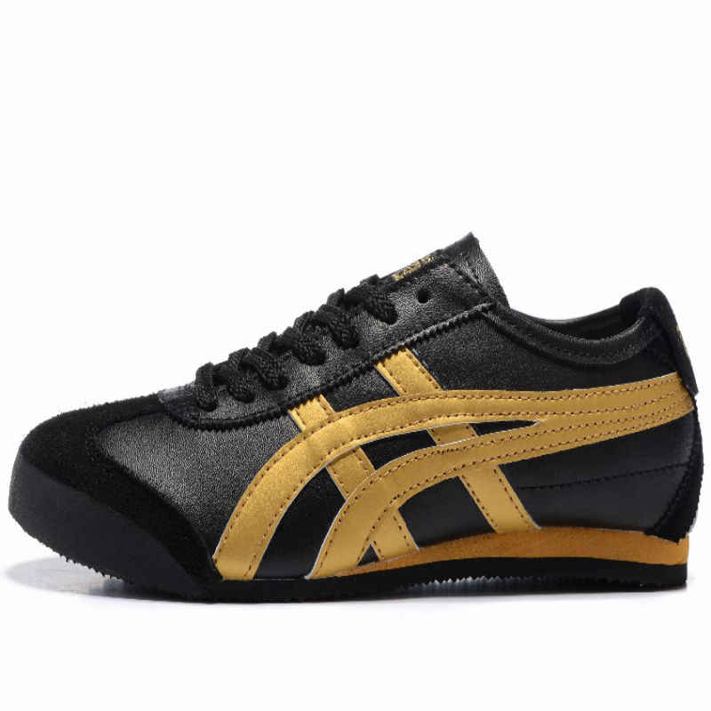 promo code 45a96 16314 ONITSUKA TIGER Men's Shoes MEXICO 66 Black Gold Black White Leather Rubber  Anti-slippery Women Sneakers Badminton Shoes