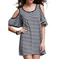Summer New Women Off Shoulder Puff Sleeve Mini Dress Sexy Striped O Neck Short Sleeve Loose Vestidos Casual Long Shirt Tops