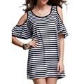 Summer New Women Off Shoulder Puff Sleeve Mini Dress Sexy Striped O Neck Short Sleeve Loose Vestidos Casual Long Shirt Tops