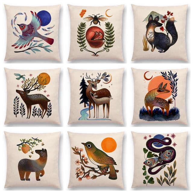 Retro Mystery Watercolor Art Totem Animals Deer Bear Bird Fish Fox