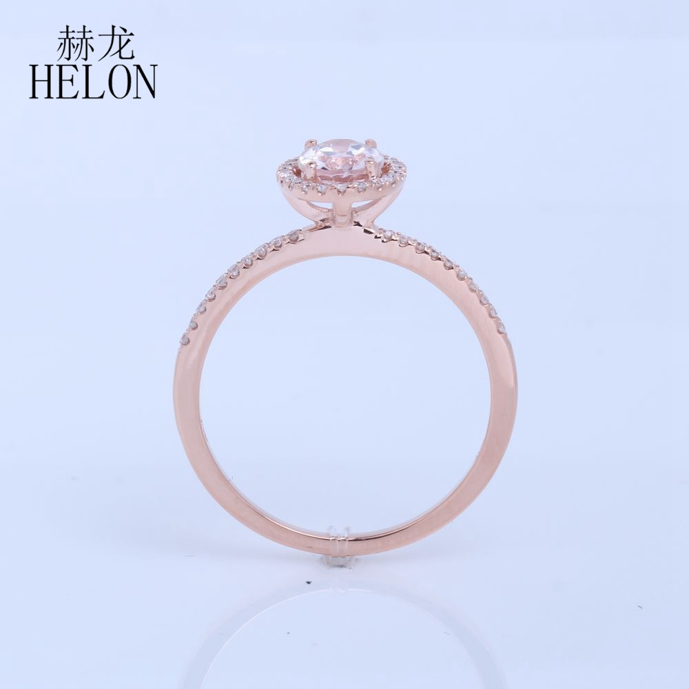 HELON Solid 14k Rose Gold 6x8mm Oval 1.2ct Morganite Ring Halo Pave 0.18ct Diamond Graceful Wedding Engagement Women Fine Ring