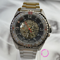 wholesale buyer price good quality man black Skeleton Arabic number steel band automatic self wind Mechanical Watch