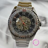 Opkoper prijs goede kwaliteit man black Skeleton Arabisch aantal stalen band automatische zelf wind Mechanische Horloge