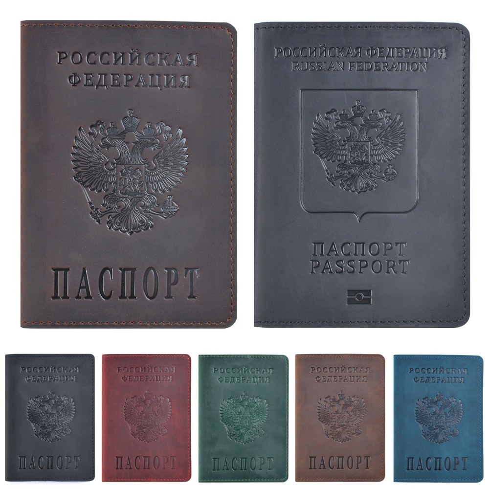 Genuine Leather Passport Cover Designed For Russian Federation Crazy Horse Leather Card Holder Business Bilingual Passport Case
