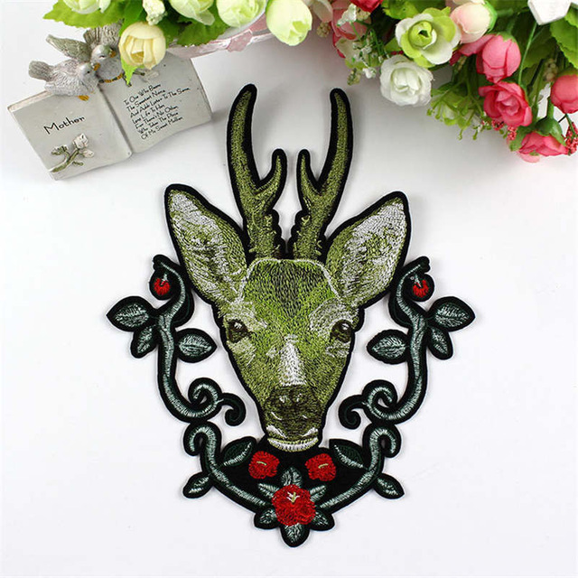 DoreenBeads Embroidered <font><b>Patches</b></font> <font><b>Deer</b></font> Animal Head Flower Sew On For Clothing DIY Applique Stickers Clothes Badges Men Women image
