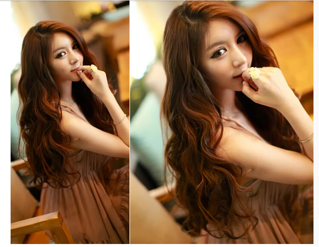 5060cm Synthetic Hair Extension Curly Hair Extensions Light Brown