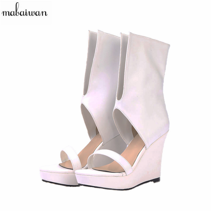 Mabaiwan 2017 Fashion Punk Style Women Gladiator Sandals Black V Front Summer Boots Platform Pumps High Heels Shoes Woman Wedges phyanic 2017 gladiator sandals gold silver shoes woman summer platform wedges glitters creepers casual women shoes phy3323