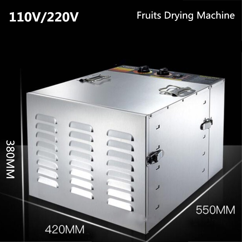 10 layers Fruits and Vegetables Dryer Stainless Steel Food Dry Machine Fruits Dehydration Food Drying Machine household 10 tray nuts dryer machine fruits and vegetables dehydration drying machine pet food dryer