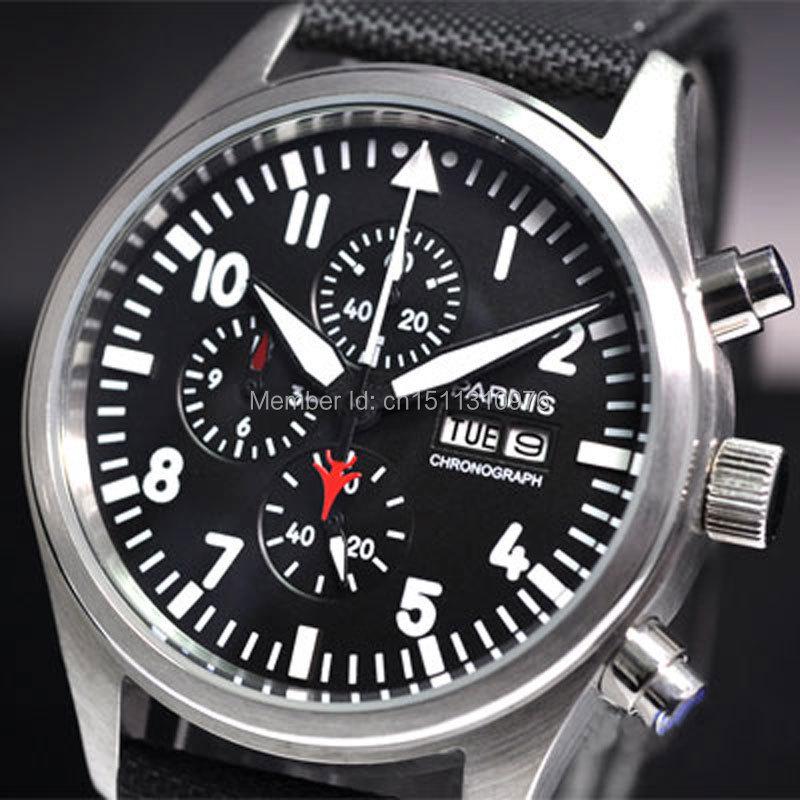 parnis black dial top vintage style day date quartz Full chronograph mens watch14 цена