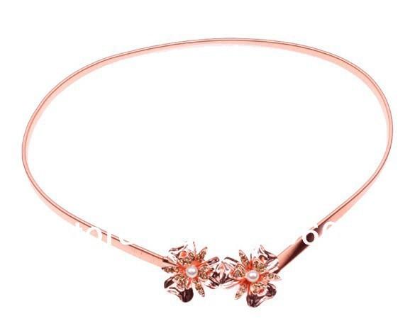 Moda magnífico crystal rhinestone metal de diamante perla hebilla pu cadenas en la cintura