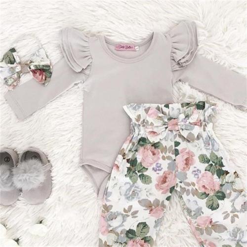 3 יחידות יילוד תינוקת בגדים ארוך שרוול Romper + פרחוני ארוך מכנסיים + בגימור תלבושות בגדי סט 0- 24 m