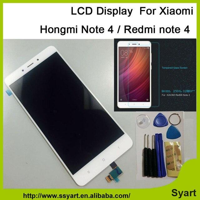 Branco para xiaomi redmi note 4 nota4 com painel de toque digitador da tela de display lcd hongmi vidro assembléia 5.5 polegada frete grátis