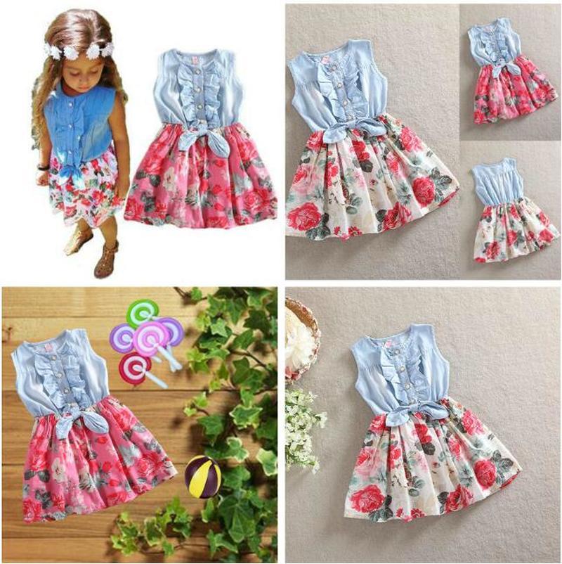 Girls' Clothing Baby Girls Dress Lovely Hot Kids Jean Denim Bow Flower Ruffled Sundress Dress For Girls Clothing Costume Dresses