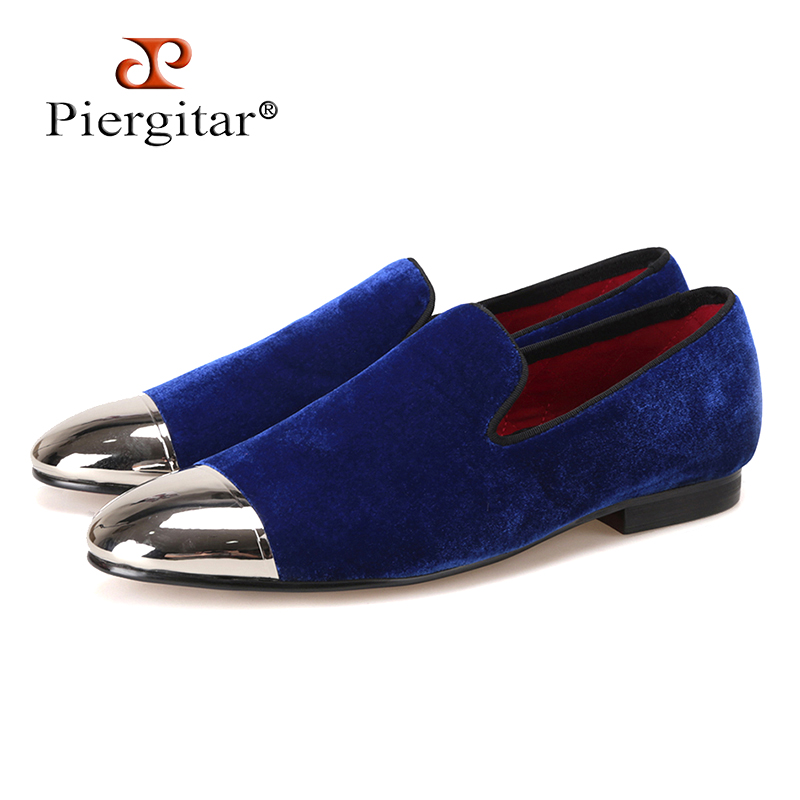 Piergitar black and blue velvet men shoes with gold and sliver toe metal Fashion Prom and banquet men loafers handmade male flatPiergitar black and blue velvet men shoes with gold and sliver toe metal Fashion Prom and banquet men loafers handmade male flat