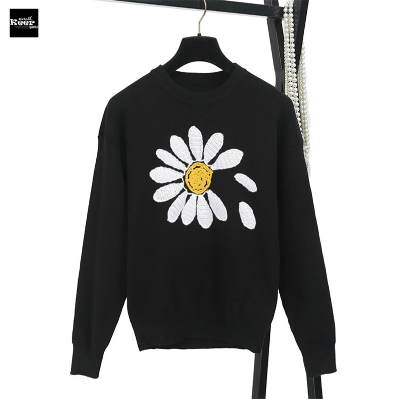 2018 New Fashion Sweater Female Pullovers Sun Flower Hook Jacquard Black Knitted Sweaters Pullover Runway Designer Tops Jumper