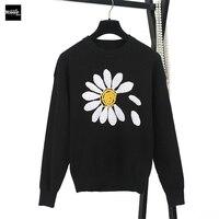 2018 Nouveau Chandail De Mode Femme Pulls Soleil Fleur Crochet Jacquard Noir Chandails Tricotés Pull Piste Designer Tops Jumper
