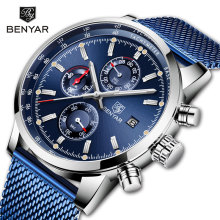 BENYAR Mens Watches Top Brand Luxury Quartz Chronograph Luminous Pointer Waterproof Fashion Watch Relogio Masculino