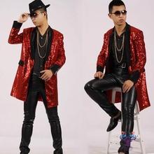 Средней длины плащ мужские пальто сращивания мужские блестки Верхняя одежда casaco masculino певица Танцы этап стильное платье Красный