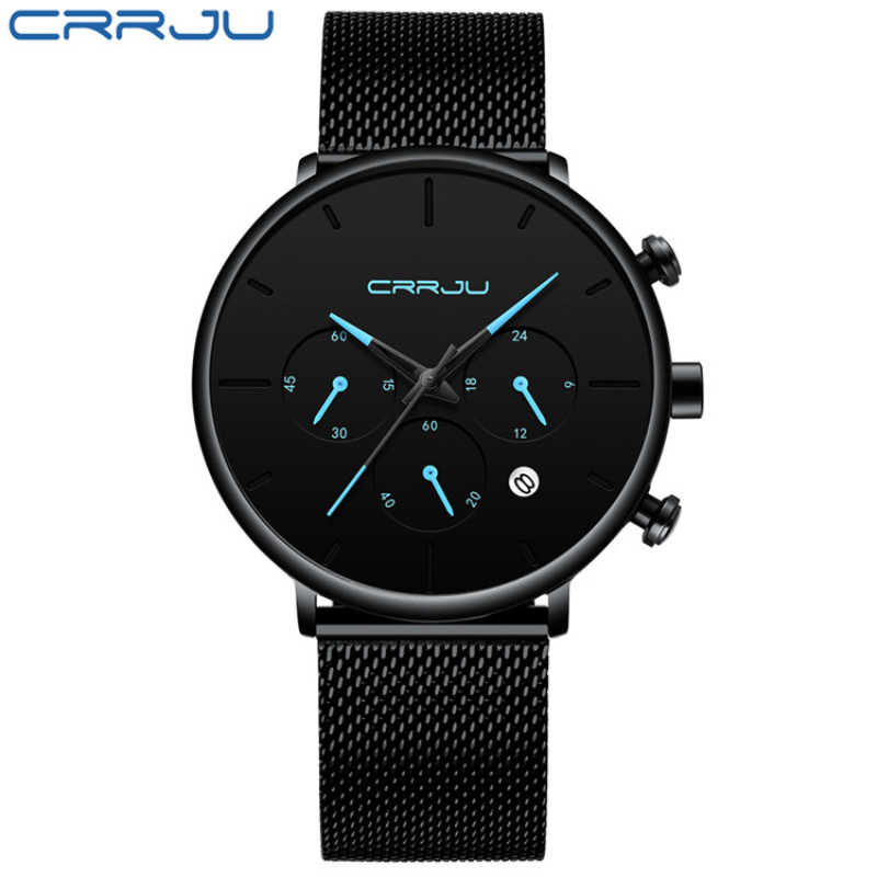 Top Hot Sale CRRJU Fashion Watch Men Waterproof Men's Watch Unique Luxury Sport Watch Clock Relogio Masculino erkek kol saati