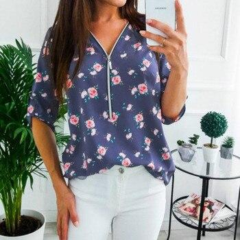 Women Tops Blouses 2019 Autumn Elegant Long Sleeve Print V-Neck Blouse Female Work Zipper Shirts Plus Size Tops 5XL Mujer Blusa 4