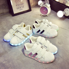MLUCKY Children Glowing Sneakers 2017 New Autumn Boys Sports Sneakers Girls Casual White Shoes Luminous LED Shoes 73
