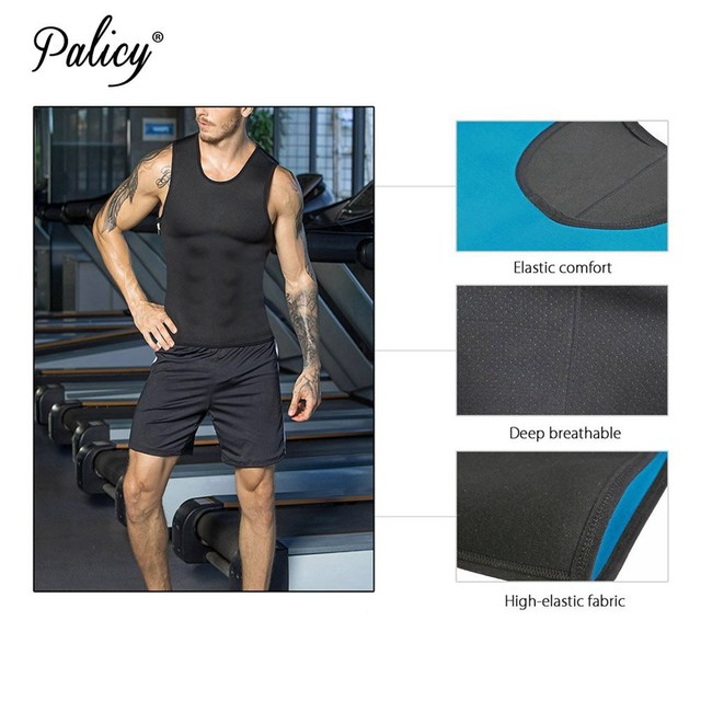 Palicy Classical Male T-shirts for Weight Loss Slimming Vest Waist Trainer Tummy Shaper Neoprene Body Shaper Men Sauna Shirt 5XL