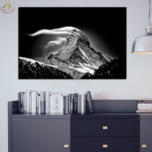 Black and White Poster Landscape Mountain Wall Art Canvas Framed Print Painting Pop Vintage Posters Prints Pictures
