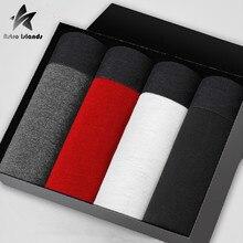 2016 Elasticity Cotton Underwear Men Boxers Homme Cueca Boxer Shorts Sexy Man Solid Color 4pcs Calvin Mens Brand Clothing P402