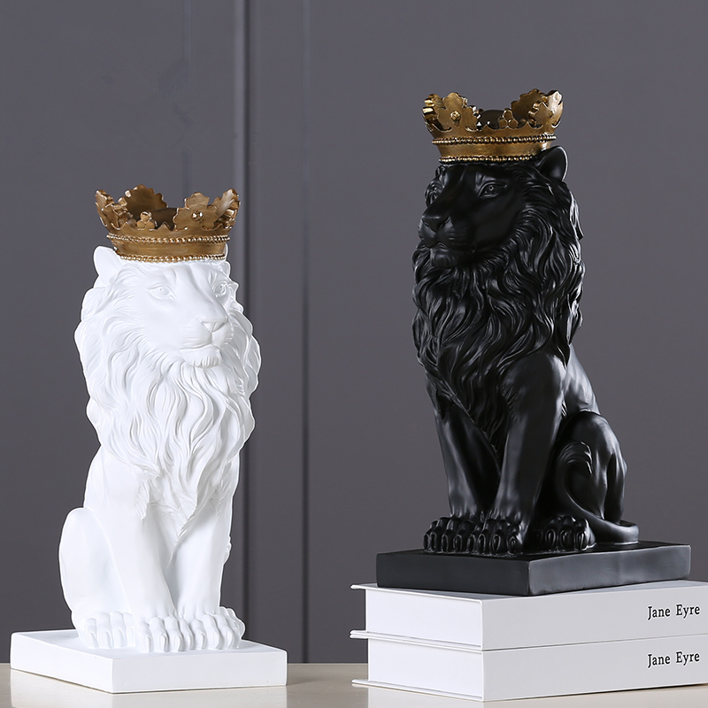 Image 3 - 2019 New Creative Modern Golden Crown Black lion Statue Animal 