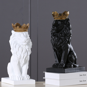 Image 3 - 2020 New Creative Modern Golden Crown Black lion Statue Animal Figurine Sculpture For Home Decorations Attic Ornaments Gifts 2