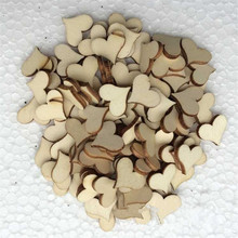 100pcs/lot Wooden Heart Blank Unfinished Laser Cut Rustic Wood Natural Cardmaking Scrapbooking Craft Wedding Table Scatter Decor
