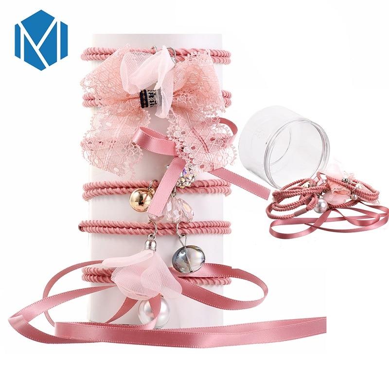 Bekleidung Zubehör Sanft Qm Mism 1 Set = 6 Stücke Perle Bowknot Elastische Haar Bands Für Frauen Süße Mädchen Haar Krawatte Barrettes Haar Zubehör