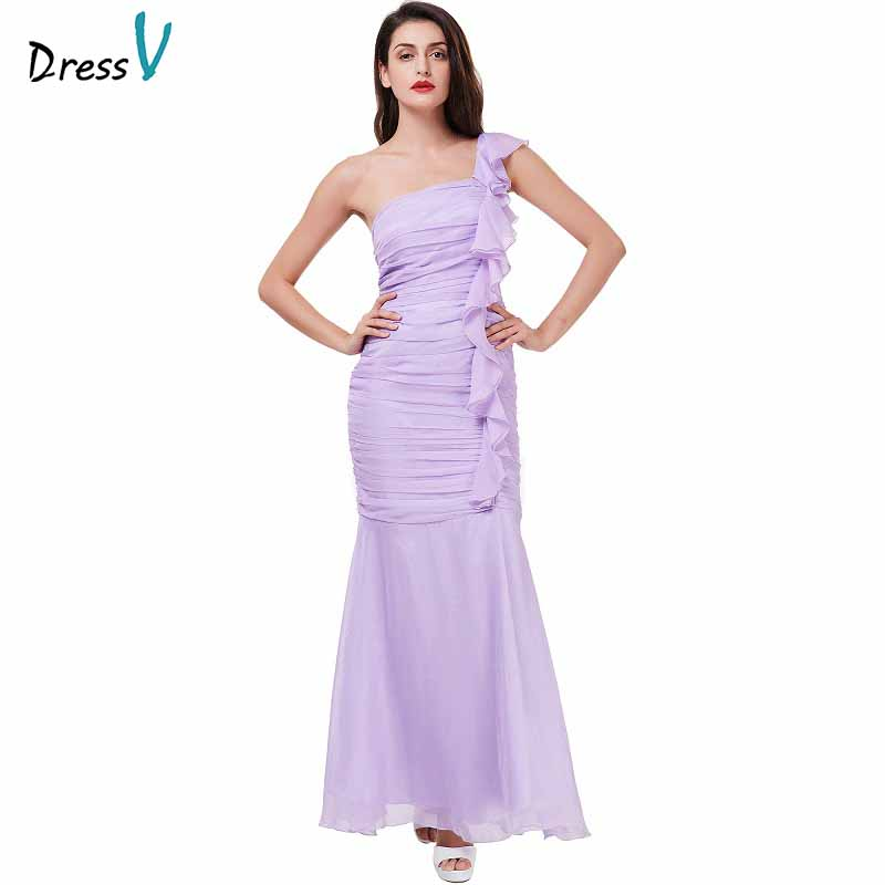 Dressv Lilac Evening Dress Cheap One Shoulder Sheath Ruched Floor Length Wedding Party Formal Dress Flower Evening Dresses