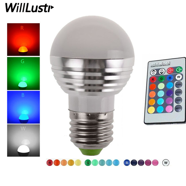 LED 3W RGB globe bulb 16 Colors RGB bulb Aluminum 85-265V Wireless Remote Control E27 dimmable RGB Light color change led bulb