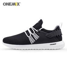 Onemix спортивная обувь для бега мужские лёгкие дышащие сетчатые Прогулочные кроссовки женские фитнес черные белые простые для любви Размер 36-45