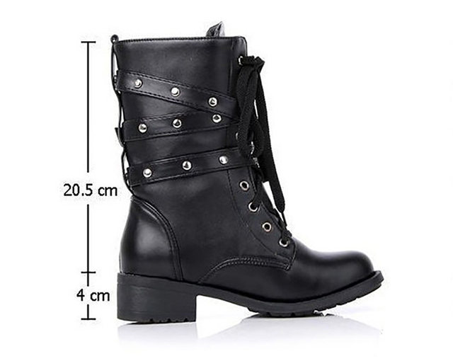 2019 New Buckle Winter Motorcycle Boots Women British Style Ankle Boots Gothic Punk Low Heel ankle Boot Women Shoe Plus Size 43 16