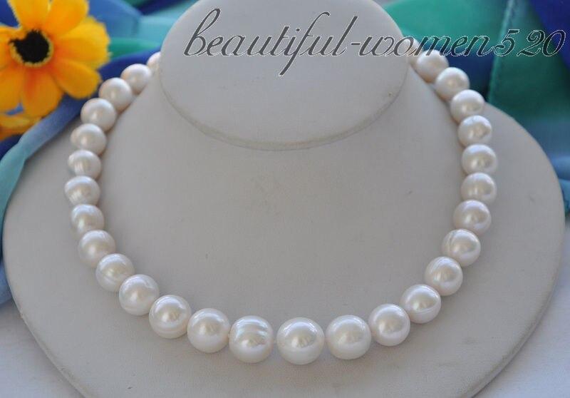 купить Z4908 Big 15mm white round Freshwater cultured pearl necklace 17inch недорого
