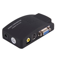 PC Laptop Composite Video TV RCA Composite S Video AV In To PC VGA LCD Out Converter Adapter Switch Box Black US Plug Wholesale