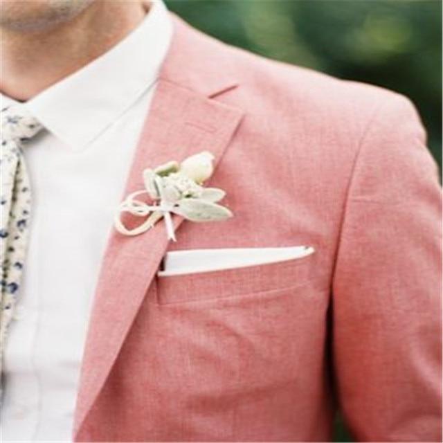 Rosa traje chaqueta delgada lino por encargo Blazers hombres ...
