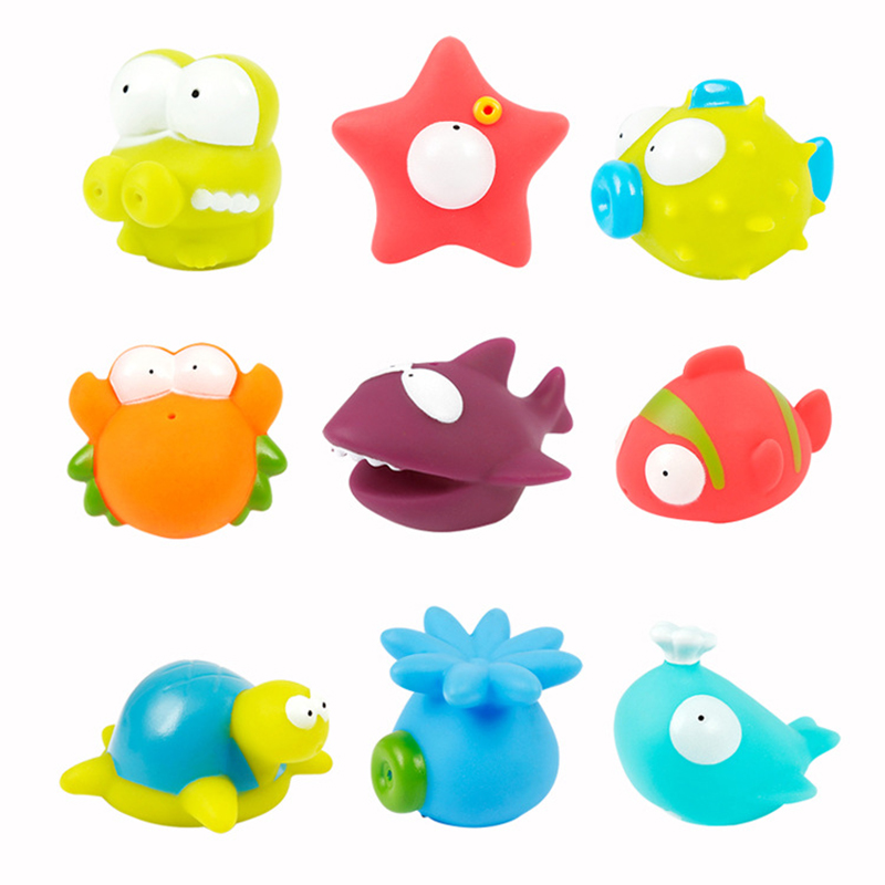 9Pcs Baby Bath Swimming Water Toys Colorful Soft Floating Rubber Squeeze Water Spray Sound Squeaky Bathing Toy For Baby Gifts