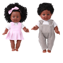 35CM African Black Doll Handmade Silicone Vinyl Adorable Lifelike Toddler Reborn Baby Kids Toys Gifts Boy Girl